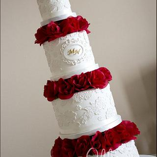 Elegant Red Wedding Cake