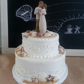 Beach Wedding Cake with Willow Tree Topper