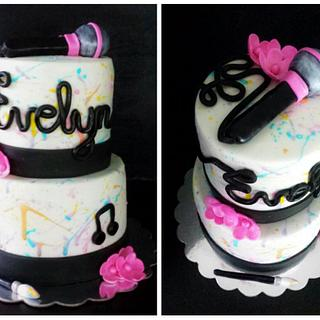 Painting & Karaoke Girls Birthday Cake