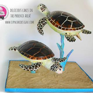 Gravity defying Sea Turtle cake
