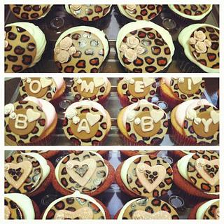 Leopard Print Baby Shower Cupcakes