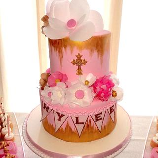 Wafer Paper Flower Communion Cake