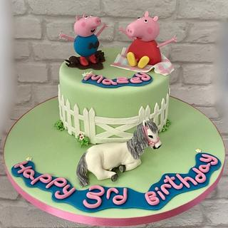 Peppa, George and Horse - Cake by Canoodle Cake Company