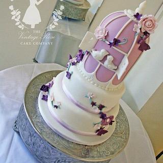 Mauve birdcage wedding cake