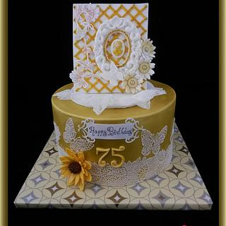 Cameo 'n Lace-themed 75th Birthday Cake