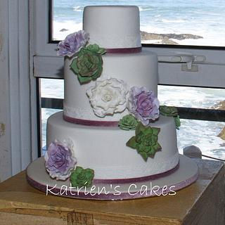 Sugar Roses and Succulents Wedding Cake