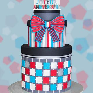 Bowtie Anniversary Cake - Cake Masters French Edition Cover April 2017