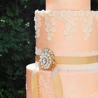 Pearlized Peach Wedding Cake