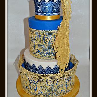 Opulent Peacock Themed Wedding Cake