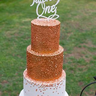 Bronze Confetti Cake - Cake by Sweet Bakes