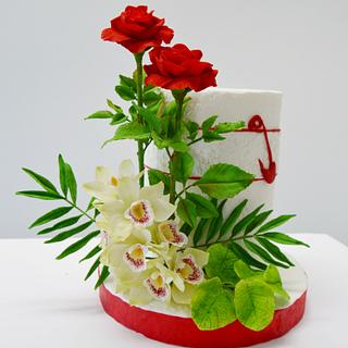Red Roses and Orchid cake