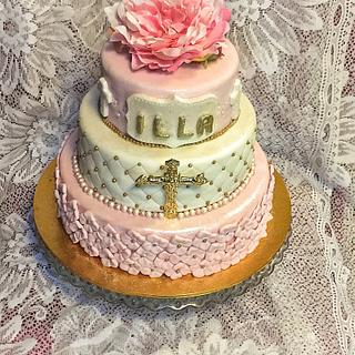 Gold and pink christening cake
