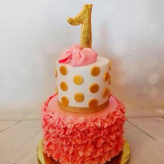 polka dots 1st birthday cake