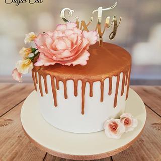 Rose Gold Drip Birthday Cake
