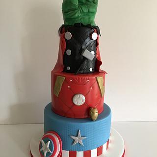 Avengers themed birthday cake