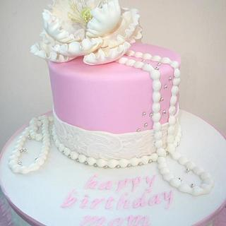 Pink Cake with pearls , lace and peony
