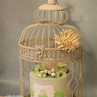 Bird nest themed baby shower cake