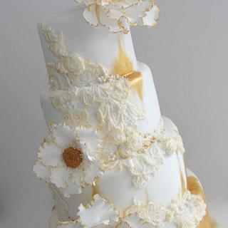 Antique Distressed Lace Cake
