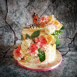 Peach and Pink - Cake by Savitha Alexander