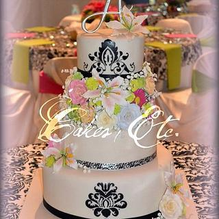 Spring Floral and Damask Wedding cake