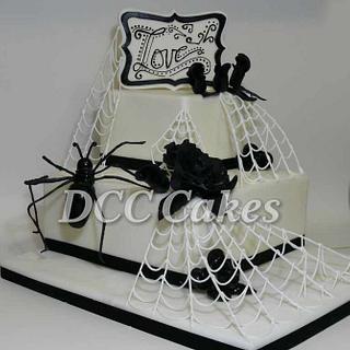 2-Tiered Non-traditional Halloween Wedding Cake