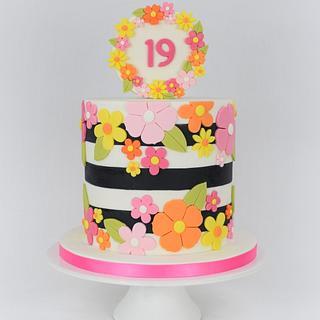 Colourful 19th Birthday Cake