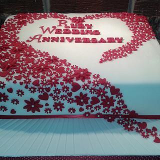 Ruby Wedding Anniversary - Cake by Karen's Kakery