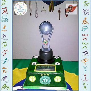 """Soccer - A Homage to Chapecó! -""""Sport Cakes for Peace Collaboration"""". - Cake by Iria Jordan"""