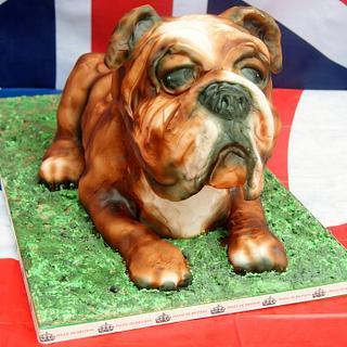 British Bulldog carved cake