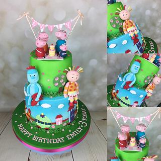 In the night garden and Peppa pig cake - Cake by Melanie Jane Wright