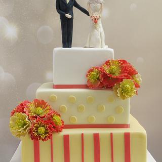 Jennifer Coral Poppy Wedding Cake
