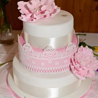 Wedding cake pink and white