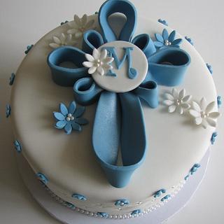Blue Cross Baptism Cake with Cross Sugar Cookies! - Cake by Sandra Caputo