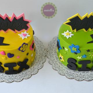 Funky Cakes for Twins