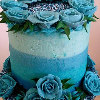 Ombre piped buttercream rose cake