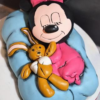 3D cake cartoon nap with teddy rabbit