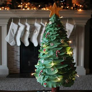 3D Lighted Christmas Tree cake