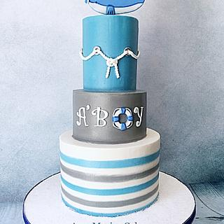 A'Boy whale baby shower cake