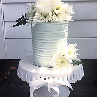 Buttercream Tin with Fresh Flowers