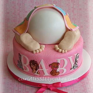 Precious moments baby bum shower cake