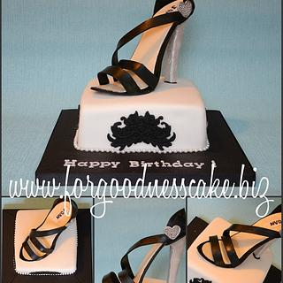 Black and White Cake with Sugar Sandal Topper