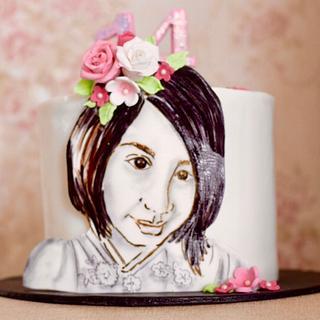 Gayatri's portrait  - Cake by Somoshree Khandekar