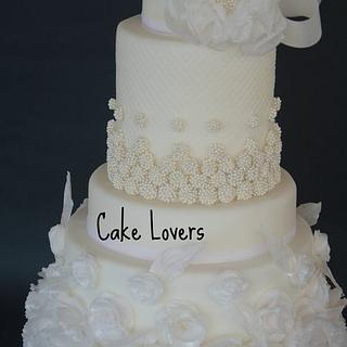 wafer paper peony and rose wedding cake