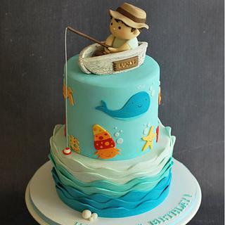 Fishing Boat 1st Birthday Cake