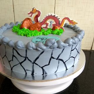 Red Dragon Theme Cake