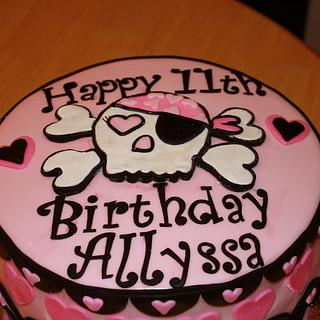 Skull and Cross Bones Cake for a girl