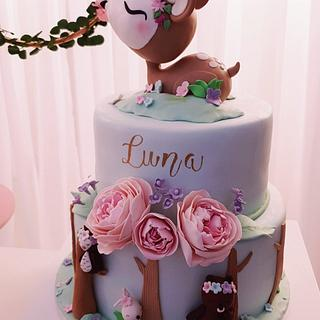 Woodland first  birthday cake - Cake by GingerCakeShop