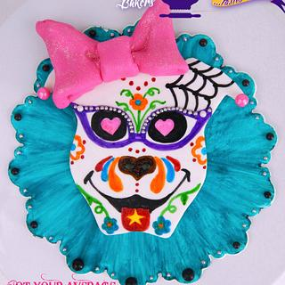 1950's Pitbull Girl Hand-Painted Cake Topper - Sugar Skull Bakers 2014