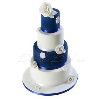 royal blue & white wedding cake - Cake by Bert's Bakes