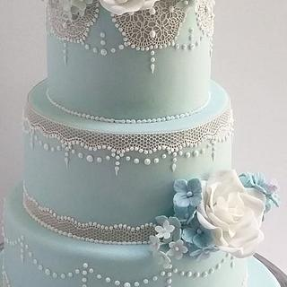 Pale blue Lace wedding cake